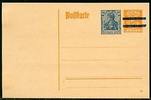 BAVARIA-YELLOW-MINT-POSTCARD-SPLIT-BAR-RE-IMPRINTED-GERMANY-GERMANIA-30-pfg