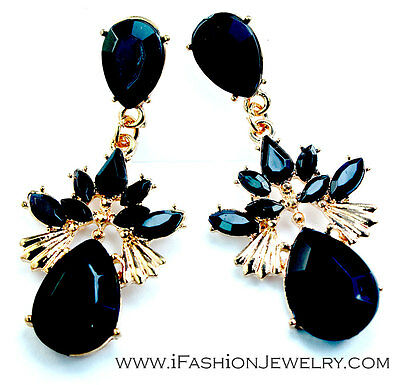 Gold Tone Black Teardrop Leaf Tear Drop Long Chandelier Earrings Fashion Jewelry