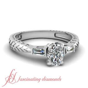 80-Ct-Cushion-Cut-Very-Good-Diamond-3-Stone-Vintage-Bar-Engagement-Ring-14K