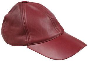 197b7a9301f MENS Genuine 100% Soft Burgundy Leather Pre Curved Peak Baseball Cap ...