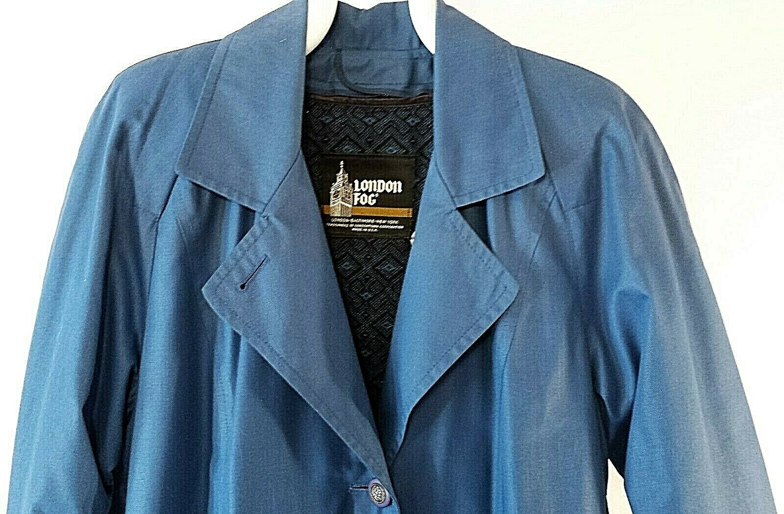 Vintage London Fog Wamsutta Lined Trench Rain Coat 10 P bluee Classic Belted USA