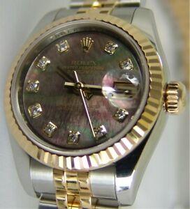 ROLEX Ladies 18kt Gold & Stainless Steel Datejust MOP Diamond 179173 SANT BLANC