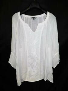 Zac-amp-Rachel-3X-White-Embroidered-Shirt-V-Neck-3-4-Sleeve-Hi-Low-Hem-Woman-3XL