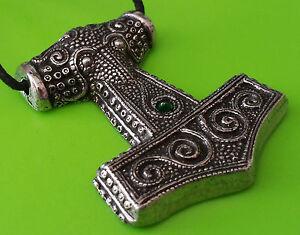 Viking Pagan Skane Hammer Mjolnir Pendant - Green FYKW3B