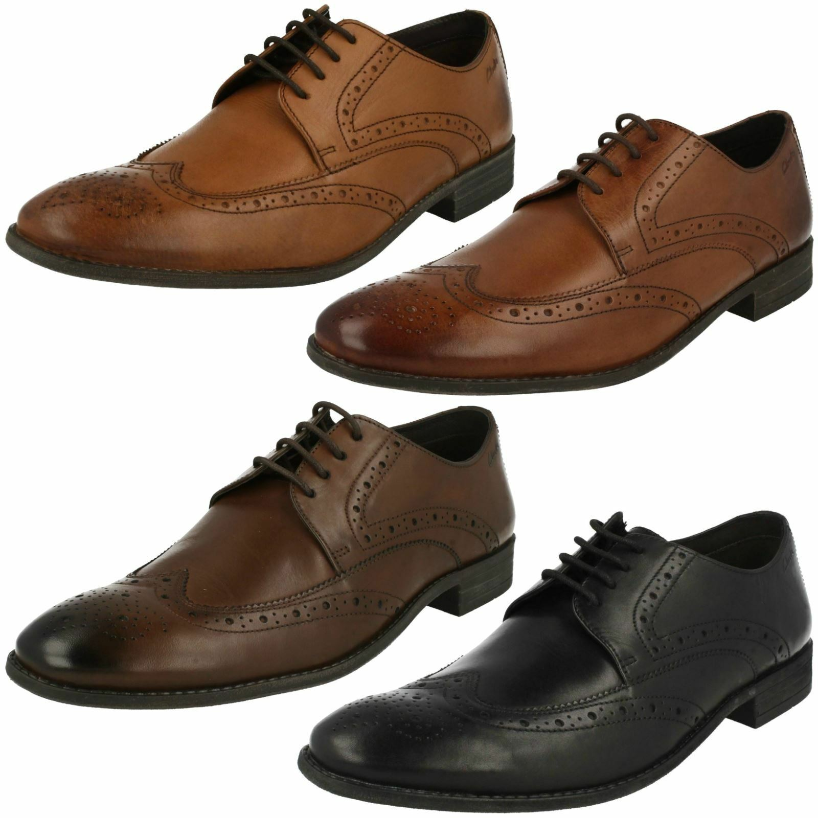 Mens Clarks Rounded Toe Lace Up Smart Leather Brogues Chart Limit