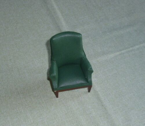 casa de muñecas Top-sillón-cuero verde-acabado sofisticado a mano en miniatura de 1:12