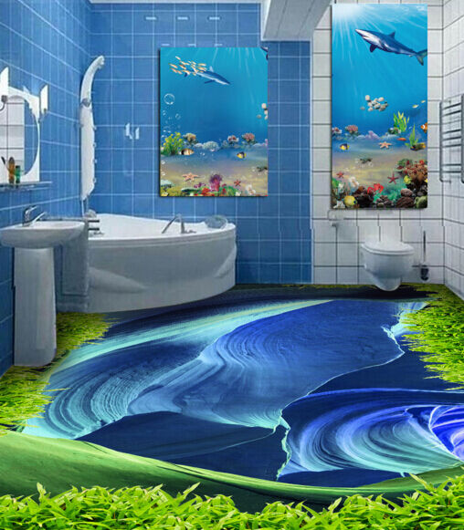 3D Grass Art bluee Sea 52 Floor WallPaper Murals Wall Print Decal AJ WALLPAPER CA