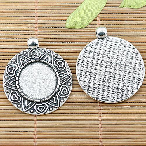 8pcs tibetan silver color round cabochon settings EF2458