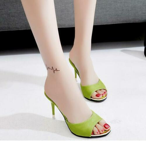 Details about  /Womens Sandals Open toe High Heel Stiletto Slip On Fashion Slippers Summer Gifts