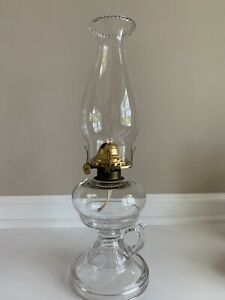 Vintage-B-amp-P-Depression-Glass-Pedestal-Finger-Kerosene-Oil-Lamp-14-5
