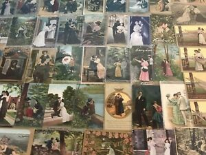 Huge-Lot-of-Romantic-Vintage-Antique-Postcards-Men-Ladies-People-Romance-p488