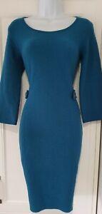 Mujer-boton-Hobbs-Verde-Azulado-Detalle-Correa-Lana-Pura-Vestido-Lapiz-formales-de-trabajo-8