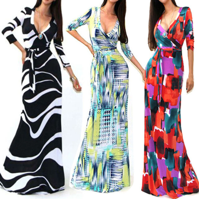 Women' s Fashion Casual 3/4 Sleeve V-Neck Straight Party Long Dress Maxi Dresses