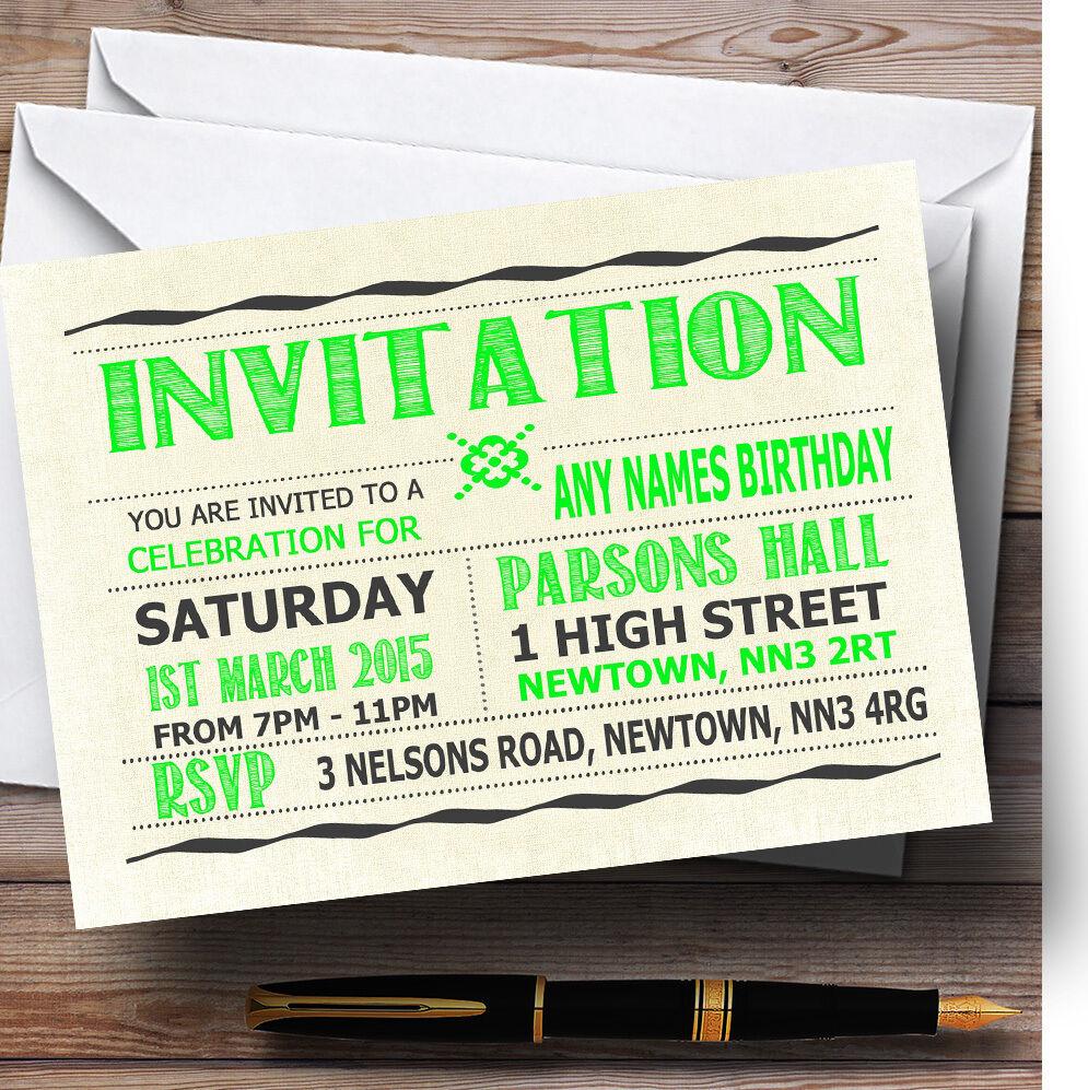 Typographie mot art Citron Fête Vert Personnalisé Fête Citron D'Anniversaire invitations 4ddd88