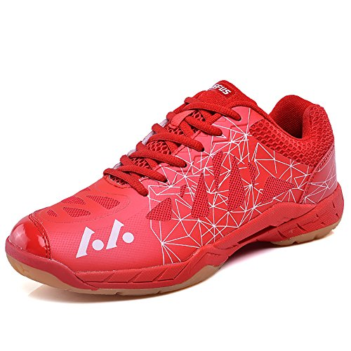 LEFUS Womens Tennis shoes Professional Althletic Badminton Sneakers US-10, Red