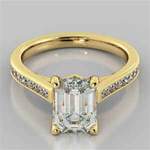 2.80 Ct Emerald Cut Moissanite Anniversary Ring 18K Real Yellow Gold ring Size 8