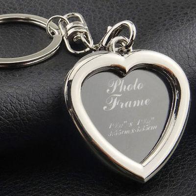 Your Memory Insert Photo Picture Frame Keyring Alloy Keychain Split Ring Heart