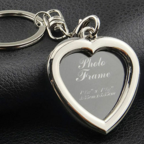 Your Memory Insert Photo Picture Frame Keyring Alloy Keychain Split Ring Heart