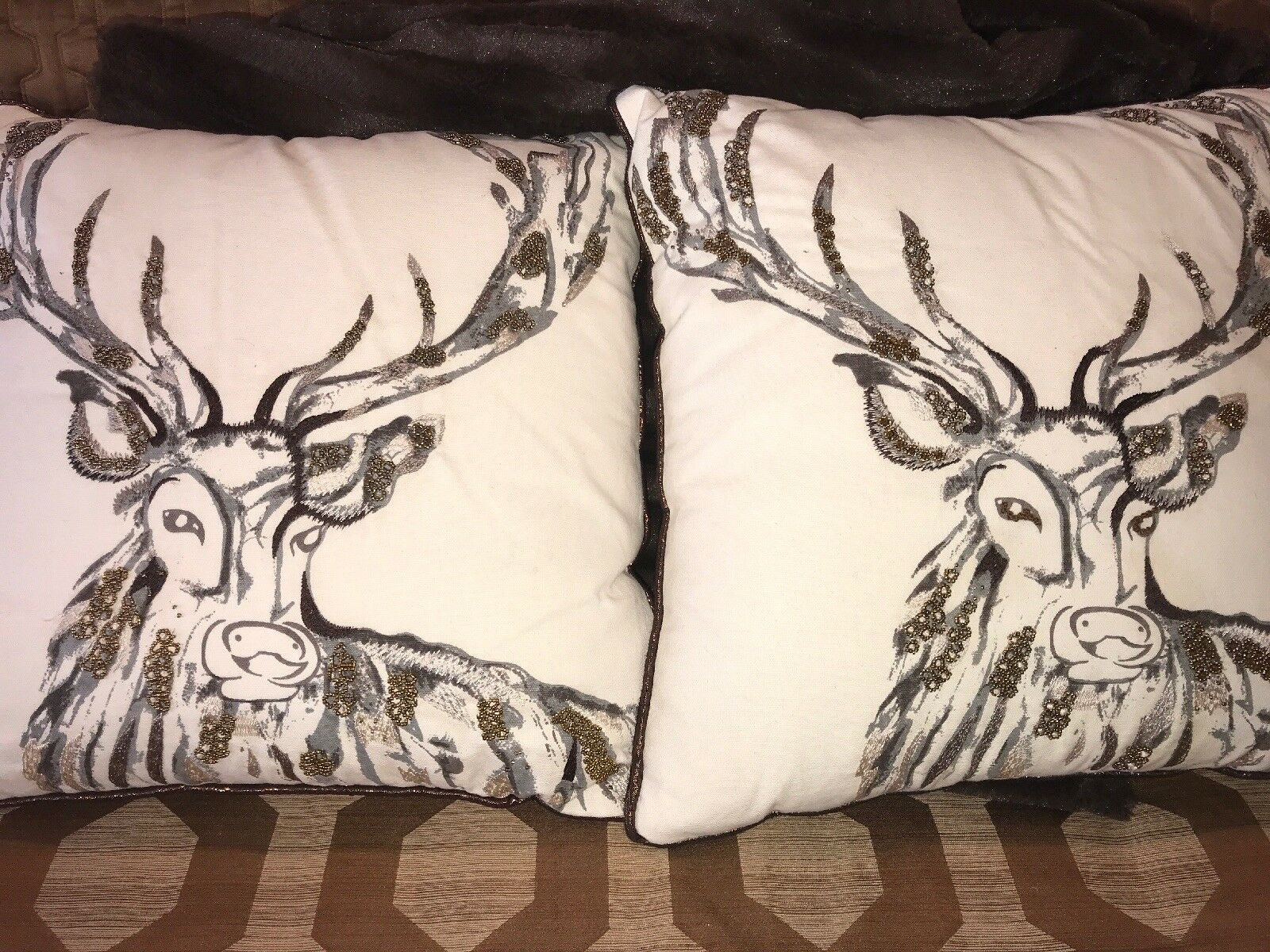 "Christmas Deer Anther Pillow Sequin Embroiderouge Trim 18"" Sq. Seasons Design NWT"