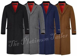 Mens-Classic-Wool-Cashmere-Cromby-Overcoat-Long-Covert-Velvet-Collar-Red-Lining