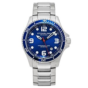 Stuhrling-Grand-Regatta-Men-039-s-Diver-Silver-Steel-Link-Bracelet-Watch-593-332U16
