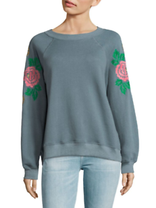 Wildfox couture embroiderot Rosa sweatshirt, vision Blau, long sleeve, crew, sm