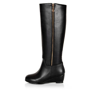 Ladies Shoes Synthetic Leather Mid Block Heels Side Zip Knee Boots UK Size b212