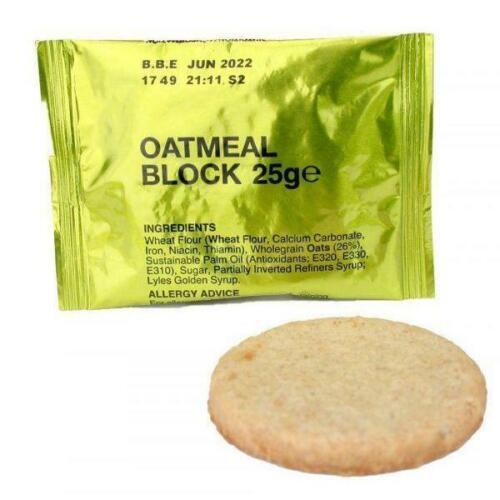 375 Kcal RARE!!! Armée Britannique Avoine Bloc5 PackPrepper MRE Biscuits 25 g