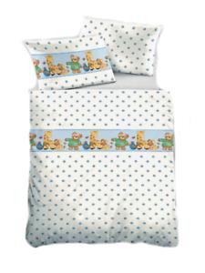 Biberna Feinbiber Kinderbettwäsche Bärchen 100x135 weiss-blau Baumwolle Tiere