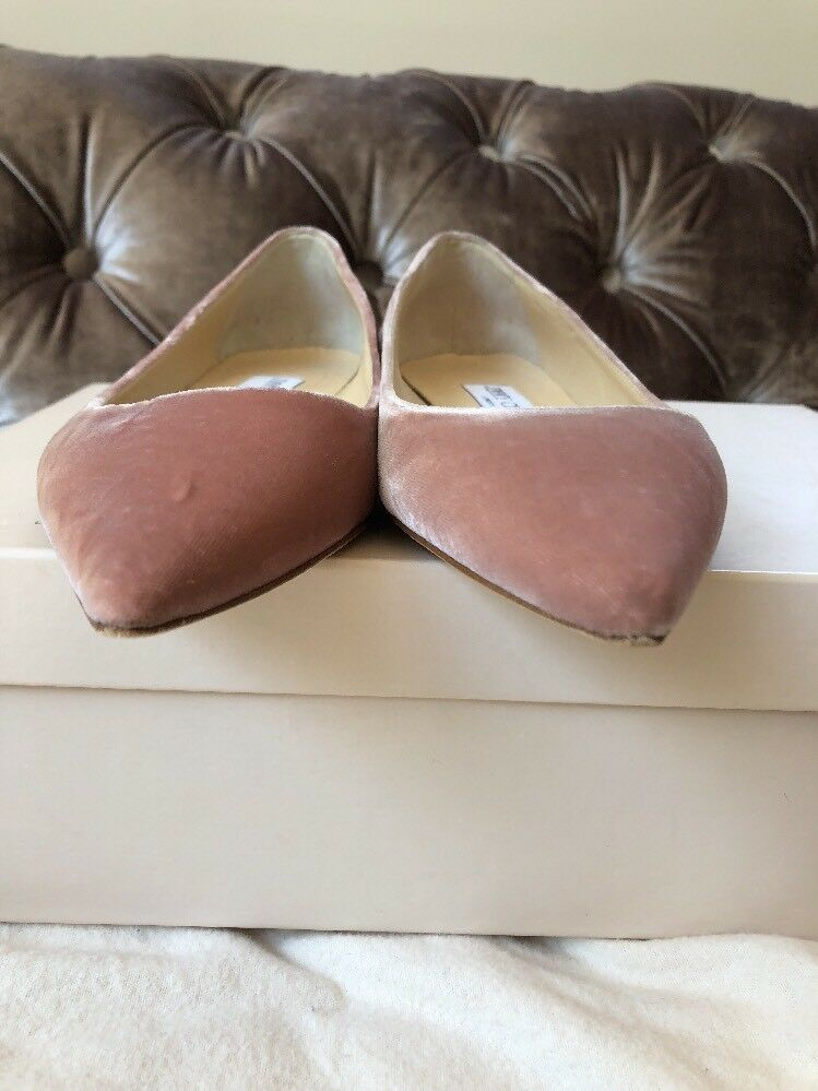 Jimmy Choo  Alina  Zapatos Terciopelo rosado Bailarina chatos Slip On Zapatos  Talla Uk 1.5 EU 34.5 cb1dfc