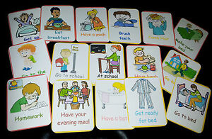 DAILY ROUTINE- 16 FLASH CARDS- SPECIAL NEEDS/ COMMUNICATION/<wbr/>UNDERSTANDING/<wbr/>EYFS