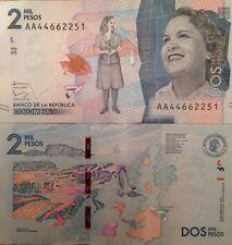 COLOMBIA 2015 2000 PESOS UNCIRCULATED NOTE P-NEW DEBORAH ARANGO FROM USA SELLER