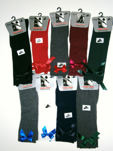GIRLS-LADIES KNEE HIGH SOCKS WITH SATIN BOW  Girls//Adult Sizes Various Colours