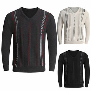 MENS-JUMPERS-V-NECK-CLASSIC-CASUAL-KNITTED-STRIPED-PULLOVER-WITNER-SWEATERS-TOPS
