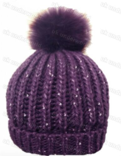 Ladies Knitted Ribbed Sequin Beanie Bobble Ski Hat With Removable Pom Pom