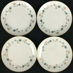 Set-of-4-VTG-Bread-Plates-6-034-by-Noritake-Elmdale-Blue-Gold-Leaves-6219-Japan