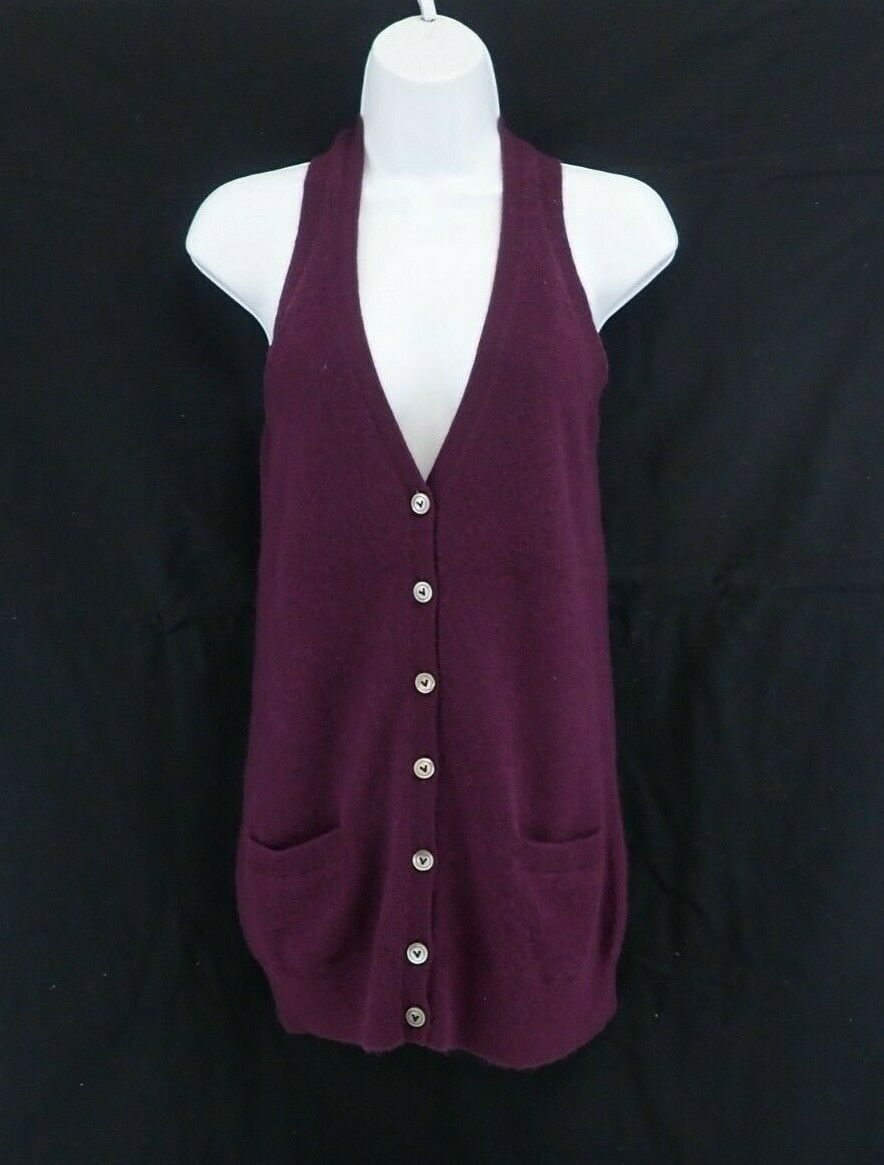 VINCE 100% Cashmere Cashmere Cashmere Button Front Sweater Vest Sleeveless Cardigan Size XS  CA120 f19b38