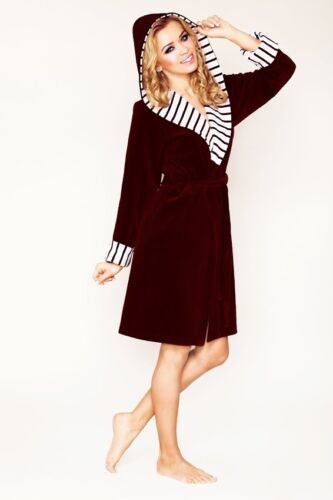 Womens COTTON Bath Robe Housecoat Dressing Gown Bathrobe with Hood UK Size 8-16