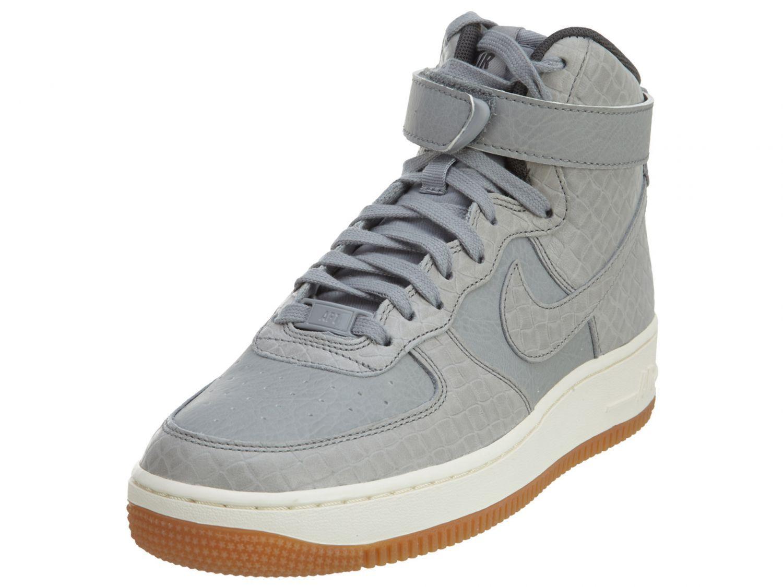 Nike Air Force 1 HI Premium Womens 654440-008 Silver Glaze Basketball  Shoes