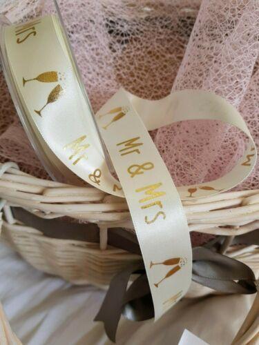 White Berisfords /'MR /& MRS/' D//Faced Satin Ribbon 15 /& 25mm Bridal /& Rose Gold