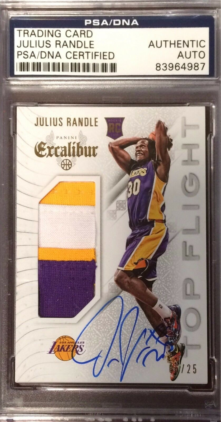 Julius Randle Signed 2015 Panini Excalibur Jersey PSA 83964987