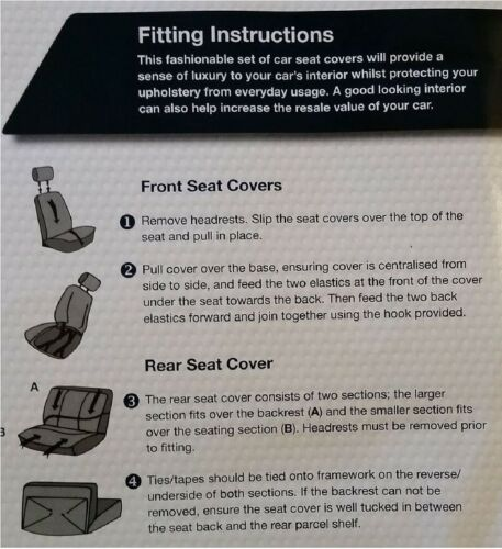 Bloomsbury Black Leather Look 8 PCE Car Seat Covers For Renault Clio Twingo Mega