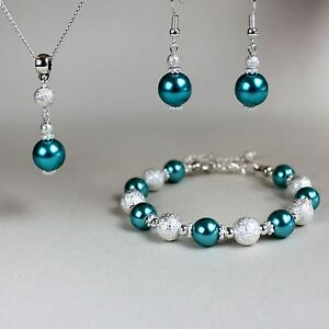 Teal Blue Green Pearl Necklace Bracelet Earrings Silver Wedding