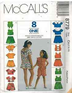 8779-UNCUT-McCalls-Sewing-Pattern-Girls-Tops-Pull-on-Shorts-Summer-Spring-OOP-FF