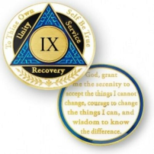 9 YEAR SOBRIETY AA RECOVERY BLUE BLACK WHITE 18K GOLD GP  CHALLENGE COIN