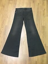 Ladies 7 Seven For all Mankind Super Flare Jeans Size 8 W28 L32 Black Rust