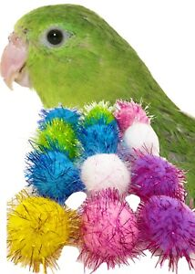 Details about 3392 pk12 Tiny BIRD FOOT TOY sparkle pom pom balls cockatiel  parakeet parrot cat