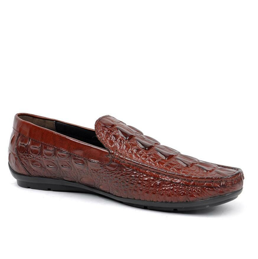 Mens Alligator Pattern Pattern Pattern Real Leather Slip On Loafers Formal Business Casual scarpe b8dd5e