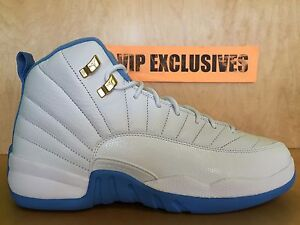 fbf2b07c79f630 Nike Air Jordan 12 Retro GG GS Melo UNC White Gold University Blue ...