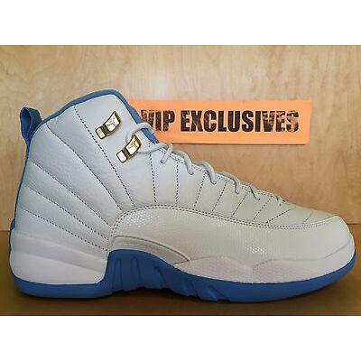 hot sale online 7208e 168b7 Nike Air Jordan 12 Retro GG GS Melo UNC White Gold University Blue  510815-127